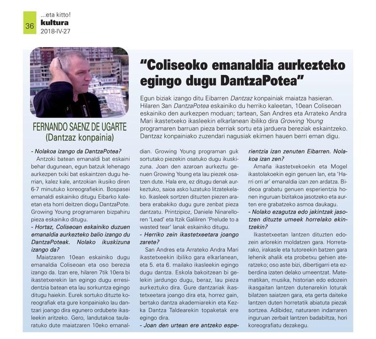 Kezka etakitto aldizkarian 2018-04-27 36 dantzaz