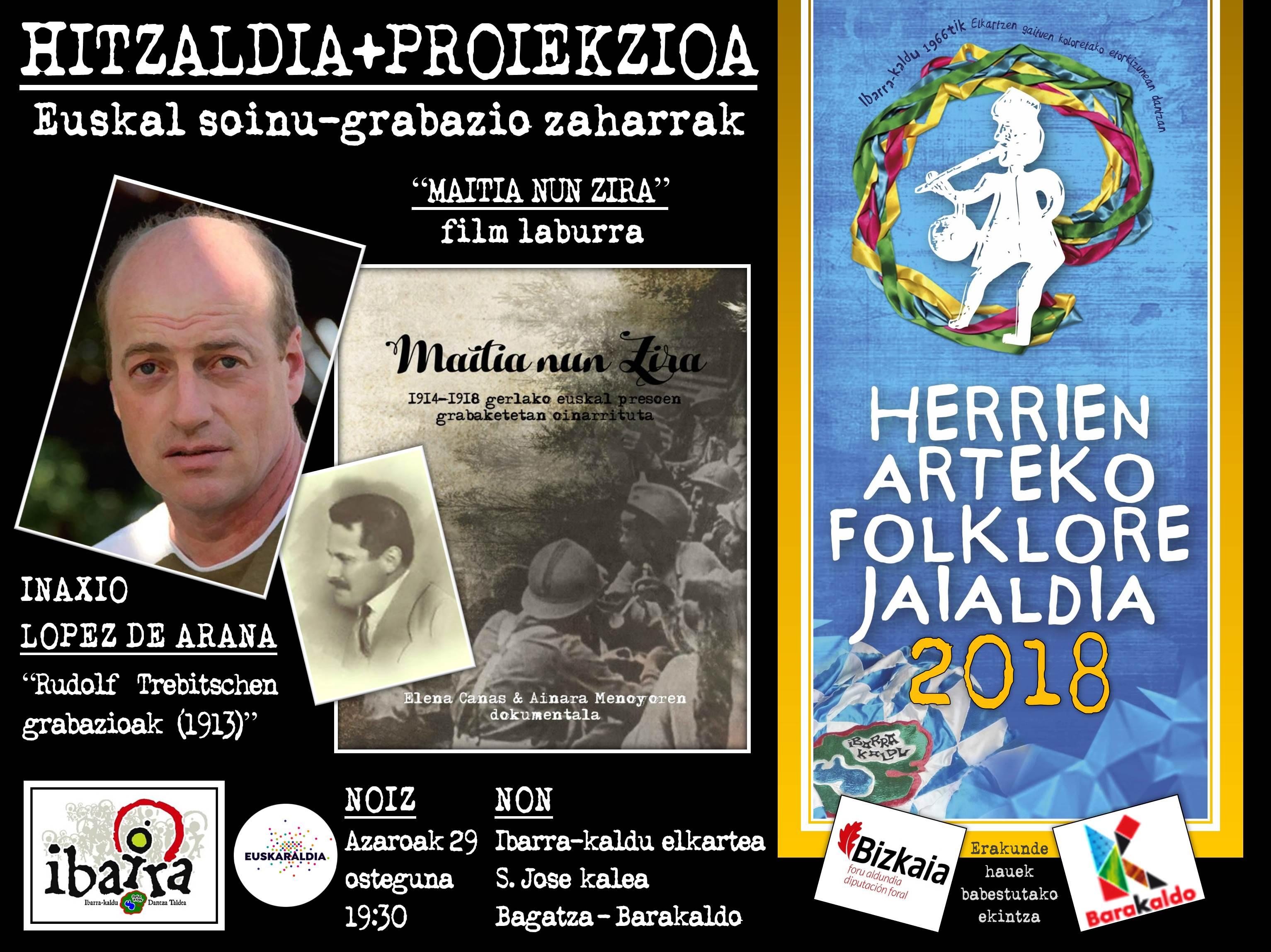 Herrien arteko XXII. Folklore Jaialdia: Hitzaldi-solasaldia Inaxio López de Aranarekin.