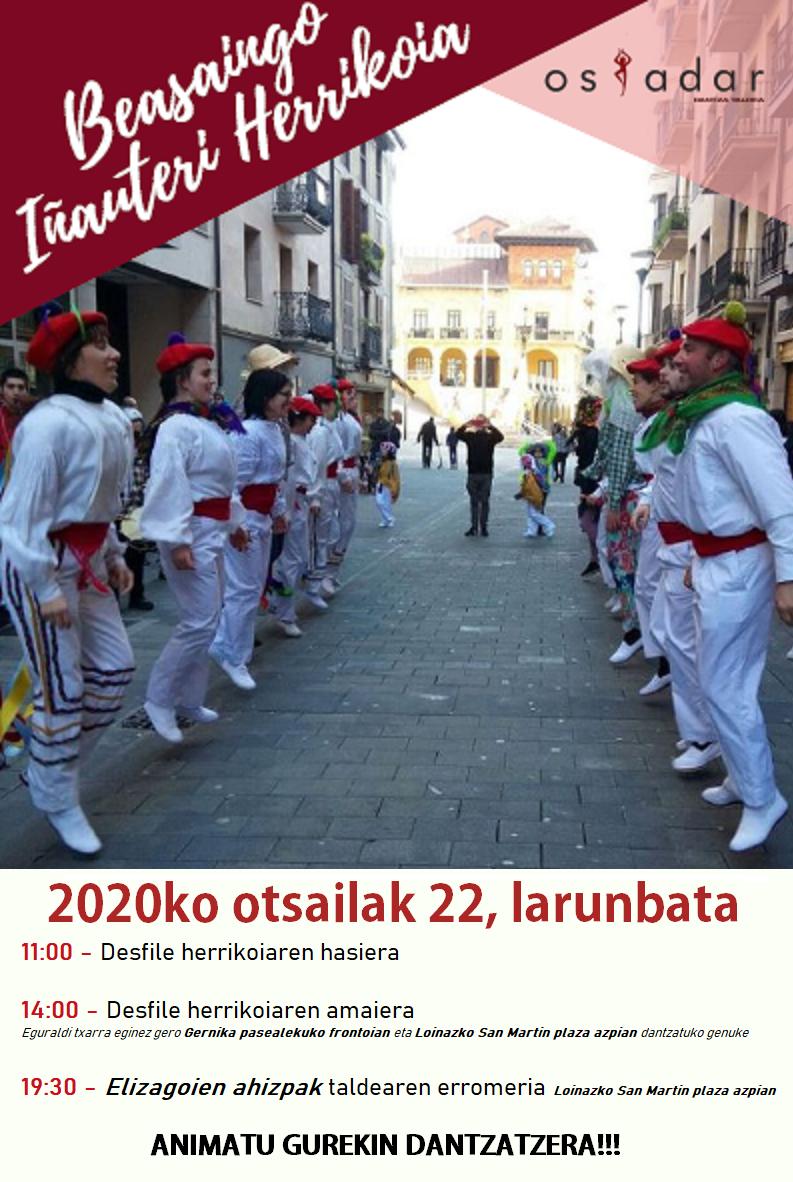 Beasaingo Inauteri herrikoiak: dantza-desfile herrikoia datorren larunbatean (otsailak 22)