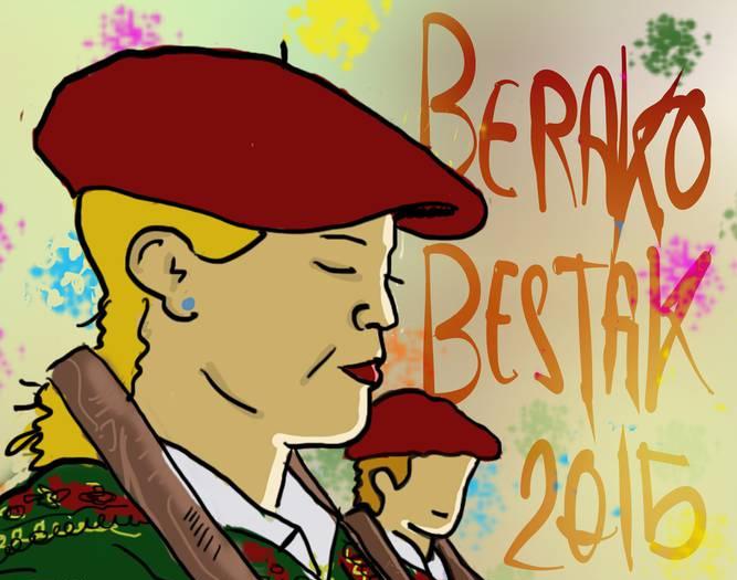 Emakume makila-dantzariak protagonista Berako festetako egitarauaren azalean
